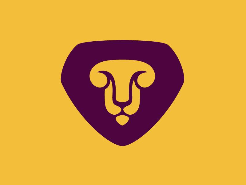 Lion logo lion head mark animal pedistal wild shadow cat branding negative