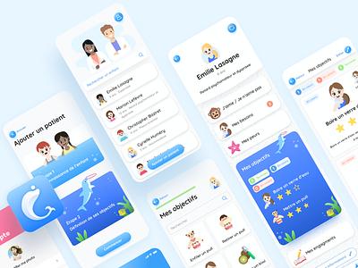 Kid'em app objective iphone patient child doctor medecin illustration design ui