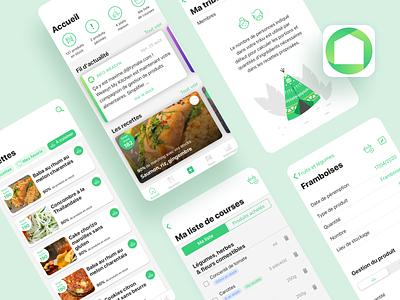 Weasyn tymate green iphone shopping list smart app kitchen food waste no waste friendly anti-gaspi recipe food fridge app design