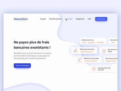 Landing page - Bank startup francais ui illustration zen money landing site purple banking microcredit french bank