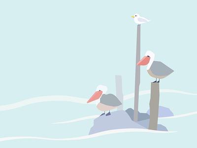 Life Of The Sea sea pelican grampus vector illustration graphic design