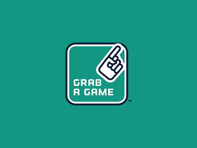 Grab a Game Logo sports athletic logo identity game hand icon