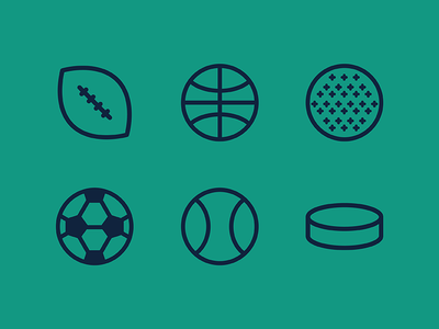 Sport Icons hockey tennis soccer kickball basketball football cute vector icon sport