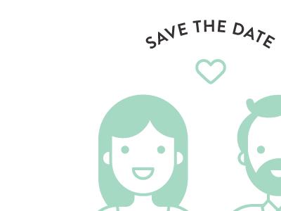 Save the Date Sneak Peek vector invitation portrait illustration wedding