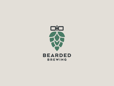 Bearded Brewing Logo glasses hop beer identity logo beards brewing