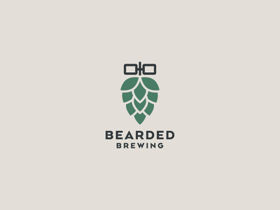 Bearded Brewing Logo glasses hop beer identity logo beards brewing