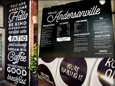 Goddess & Grocer Andersonville branding restaurant cafe menu painting sign lettering type drawn hand