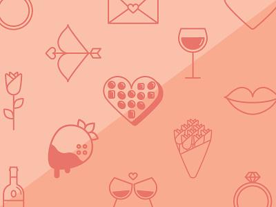 Valentine's Day Icons heart arrow wine roses romance icon valentines love