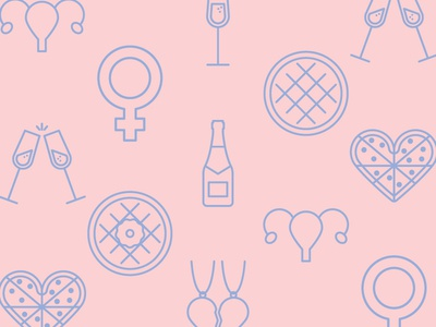 Galentine's Day Icons women female waffle pizza icon set icons galentines