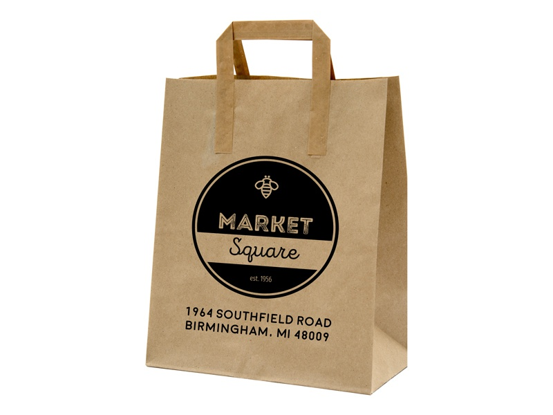 Market Square Stores food round circle black brown calligraphy handwritten lettering script traditional retro logo