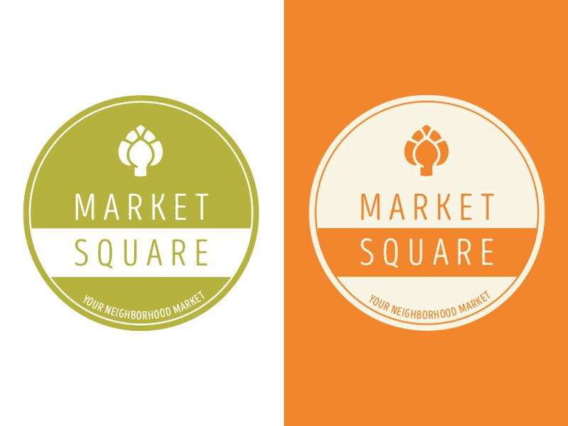 Market Square Logo branding brand retail store grocery orange green circle stamp traditional retro logo