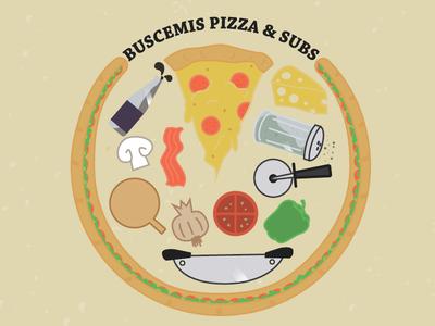 Buscemis Farewell buscemis pizza subs food soda splash cheese slice bacon tomato onion knife