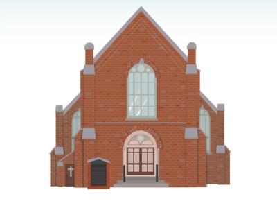 Church WIP church illustration wedding sister arch brick sign windows