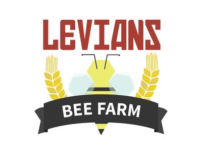 Bee Farm Logo banner honeycomb hex russian wheat levians farm bee