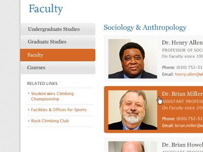 Faculty white grey orange blue html5 css3 college