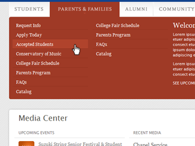 tabbed drop-downs red white college blue grey border-radius rounded corners html5 css3
