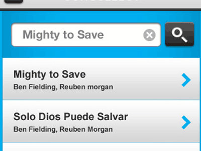 Select a Song (Mobile) mobile song html5 css3 web app responsive