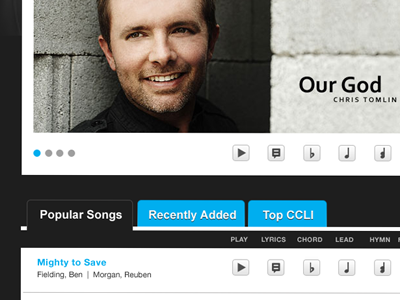 Select a Song songs christian html5 css3