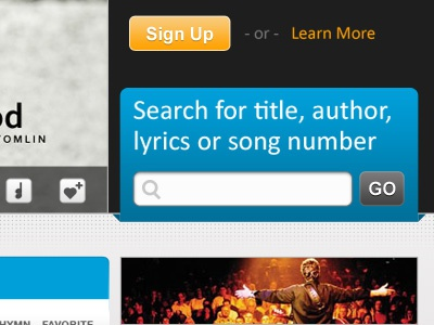 search search songs title author html css