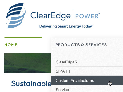 ClearEdge|POWER redesign redesign blue green white gray html5 css3 grey