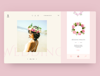 Concept product card for wedding wreath