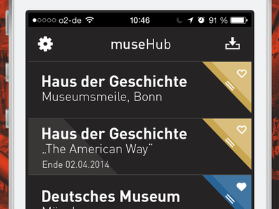 "muse ""hub""  screen audio guide museum interactive design corporate app muse hub drag"