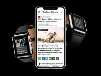 FAZ.net Website and App iphone watch newspaper webapp app ux ui web design flat live project