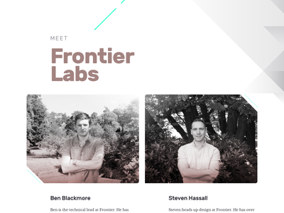Frontier Labs holding page v2 404 homepage landing page ui data science parallax frontier website design tech startup