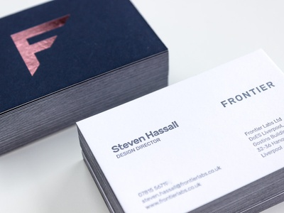 Frontier Labs business cards letterpress imperial blue embossing brocade colorplan foil frontier business cards