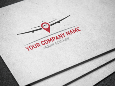 Airplane Map Marker Logo
