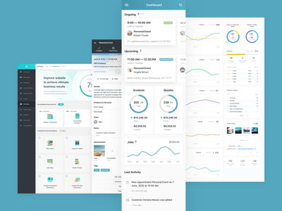 Ad.IQ paas saas crm statistics analytics invoices jobs customers appointments user interface ux ui booking advertising dashboard
