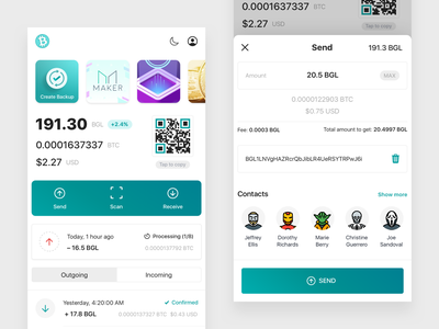 Bitgesell Wallet fintech finance user interface ux app ui send money wallet crypto