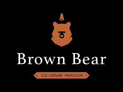Brown Bear ice cream shop parlour brand logo icon bear