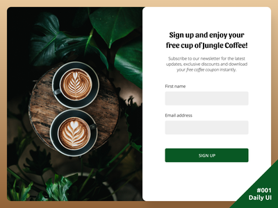 Daily UI #001 Sign Up Page dailyui 001 coffee jungle landing page sign up daily daliy ui