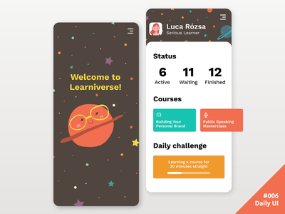 Daily UI #006 Learning App User Profile user profile profile page profile mobile study space status learning 006 app ui daily daily ui dailyui