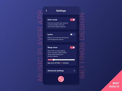 Daily UI #007 Settings Design dark theme dark mode settings music player music mobile app daily ui dailyui ui daily