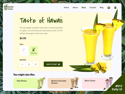 Daily UI #012 E-Commerce Shop (Single Item) item shop e-commerce ecommerce pineapple add to cart smoothies smoothie resort paradise tropical webshop web design website web 012 daily ui dailyui ui daily