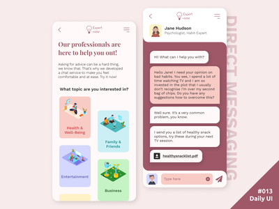 Daily UI #013 Direct Messaging cards categories coaching topics message 013 chat app chat direct messaging mobile app daily ui dailyui ui daily