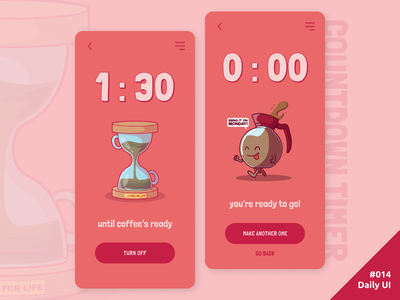 Daily UI #014 Countdown Timer counter drink hourglass time coffee timer countdown app mobile 014 daily ui dailyui ui daily