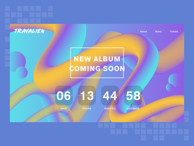 Daily UI Challenge 014 — Countdown Timer musician album music vector illustration daily ui dailyuichallenge dailyui ui design website web countdown timer countdown