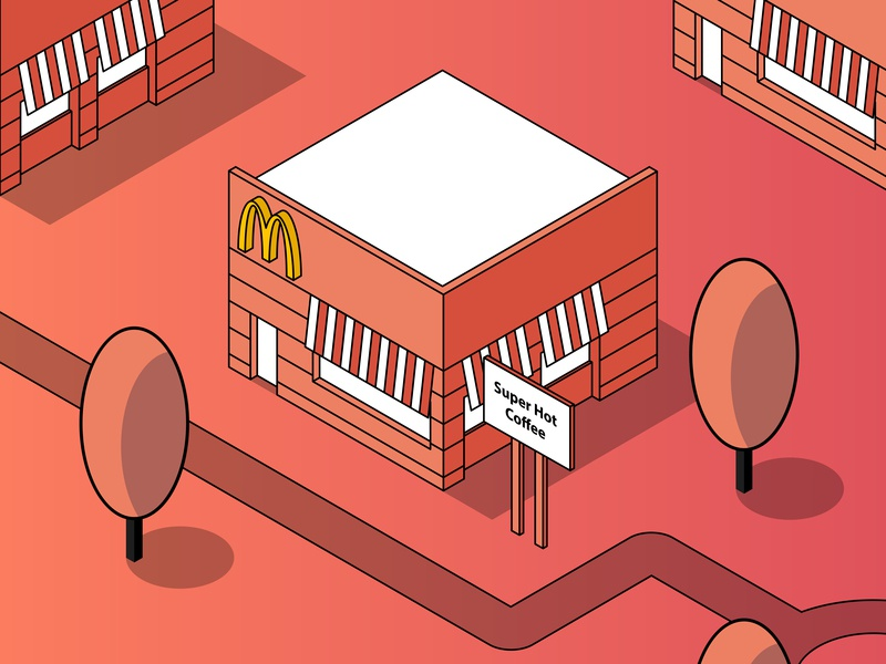 The Classic McDonald's Coffee Case branding architechture isometric design isometric art isometric flat  design type vector minimal grid layout flat typography layoutdesign illustration grid construction design