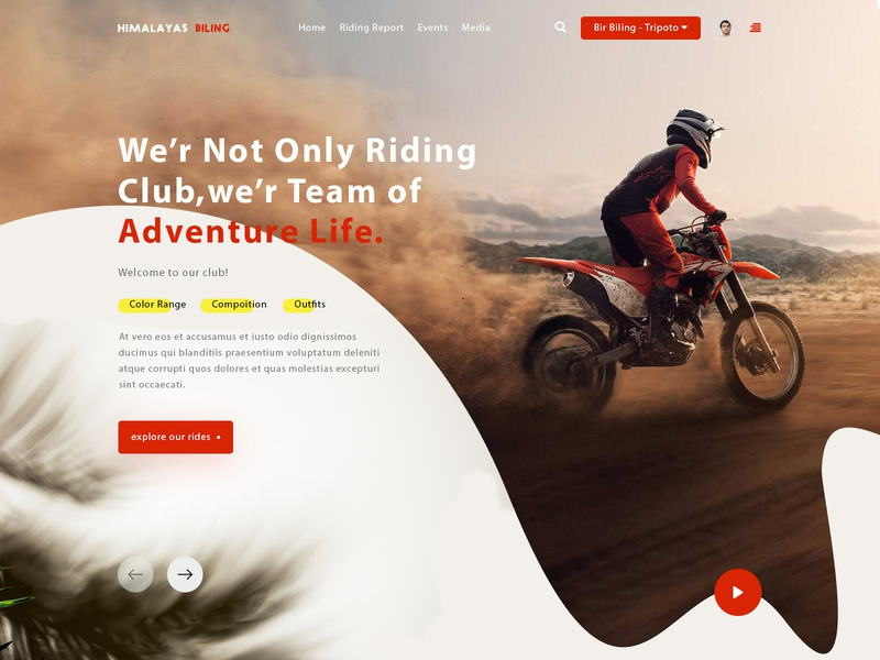 Sports Trend lettering mobile type identity logo mockup website branding ui ux design typography animation illustration minimal wire frame webdesigner riders bikes landing page