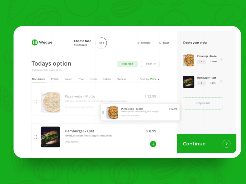 Wegue choose food - Add to Cart | Daily UI Challenge 010