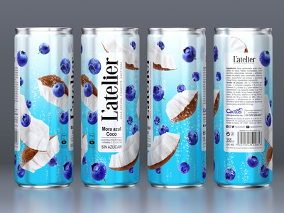 L'ATELIER — CARBONATED BEVERAGE blueberries nuts coconuts label brand logo trademark packaging design packaging design branding