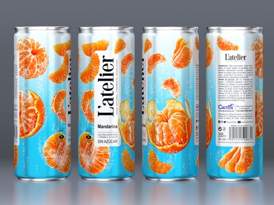 L'ATELIER — CARBONATED BEVERAGE fruit can beverage label brand logo trademark packaging design packaging design branding