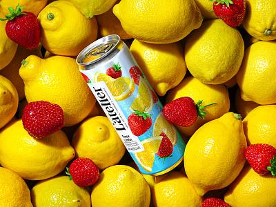 L'ATELIER — CARBONATED BEVERAGE berries strawberries lemons trademark packaging design packaging design branding fruit carbonated drink soda refreshing drink soft drink juice drink