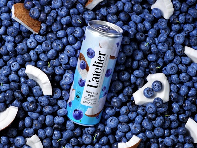 L'ATELIER — CARBONATED BEVERAGE can coconuts blueberries nuts berries carbonated drink soda refreshing drink juice drink label brand logo trademark packaging design packaging design branding