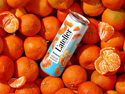 L'ATELIER — CARBONATED BEVERAGE beverage can fruit tangerines carbonated drink soda refreshing drink soft drink juice drink label brand logo trademark packaging design packaging design branding