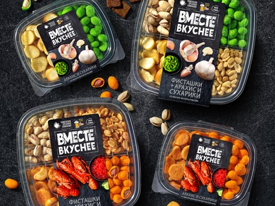 VMESTE VKUSNEE — NUTS AND CROUTONS caviar crayfish garlic wasabi pistachios nuts crackers food snacks label brand logo trademark packaging design packaging design branding