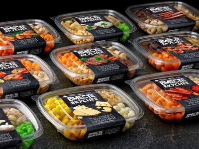 VMESTE VKUSNEE — NUTS AND CROUTONS chicken bacon wasabi fish meat grilled cheese grill pistachios nuts crackers snacks food label brand logo trademark packaging design packaging design branding